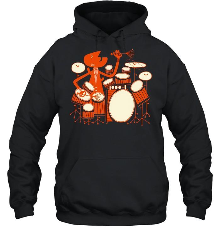 Drummer Orange Drum Set shirt Unisex Hoodie