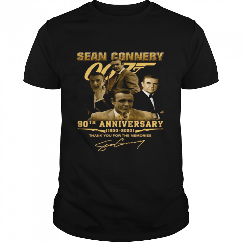The Sean Connery 007 90th Anniversary 1930 2020 Signature Thank shirt Classic Men's