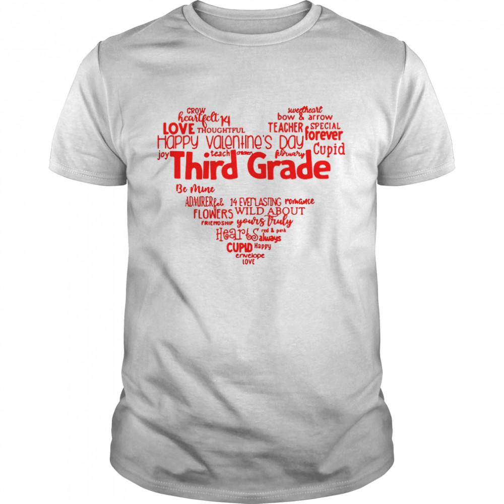 Valentine Heart Teacher Name Grade Personalized Raglan shirt Classic Men's