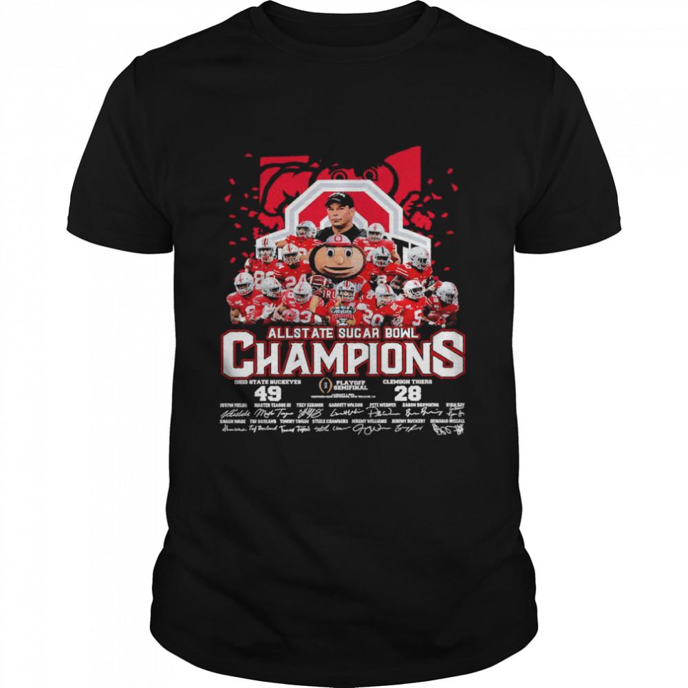 Allstate Sugar Bowl Champions Ohio State Buckeyes 49 Clemson Tigers 28 Signatures shirt Classic Men's