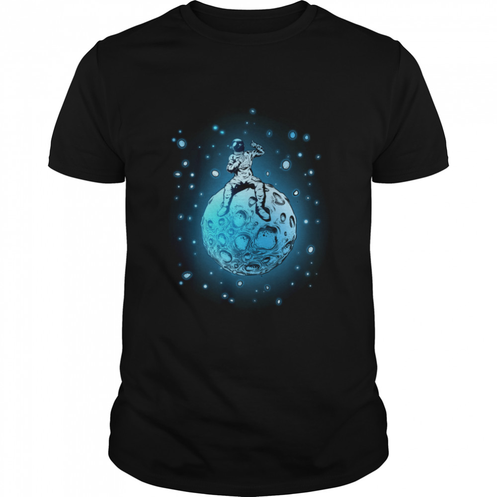 Astronaut Sitting On Planet Outer Space shirt Classic Men's