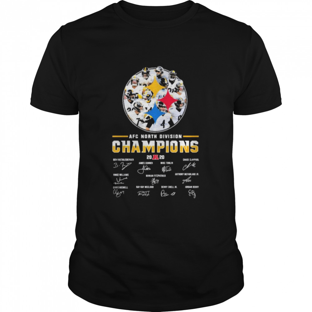 Pittsburgh Steelers afc north division champions 2020 signatures shirt Classic Men's