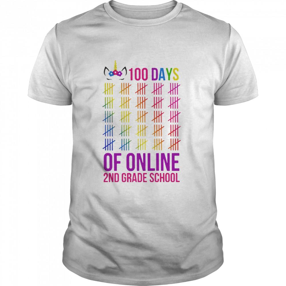 Unicorn 2nd Grade School 100 Days Of Online shirt Classic Men's