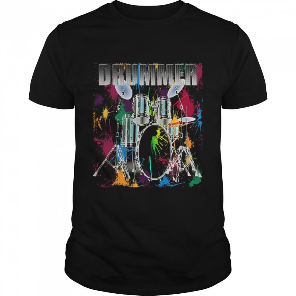 Drummer Drum Set Art Graphic Design Drum Player shirt Classic Men's