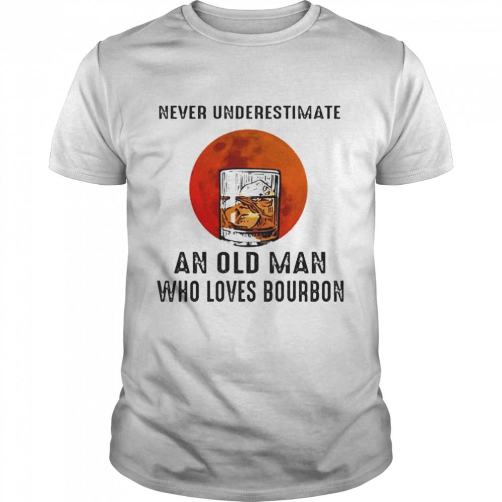 Never Underestimate An Old Man Who Loves Bourbon Sunset shirt Classic Men's