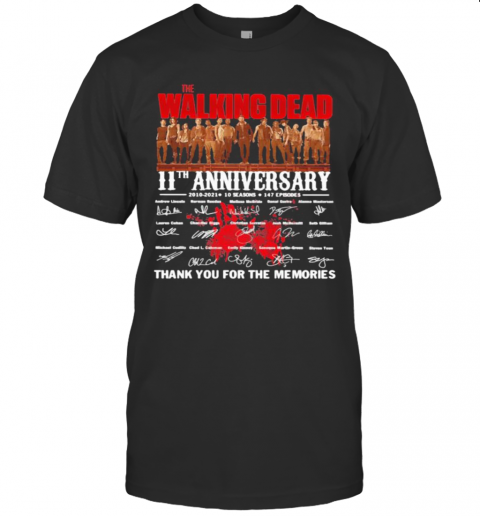 Walking Dead 11St Anniversary 2000 2021 Thank You For The Memories Signature shirt Classic Men's
