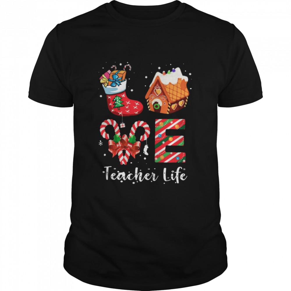 Love Teacher Life Merry Christmas Sock Gift shirt Classic Men's