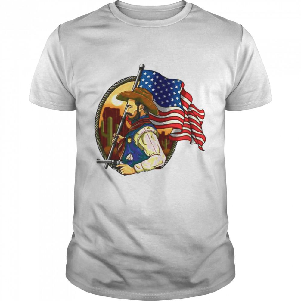 Sheriff Man With American Flag shirt Classic Men's