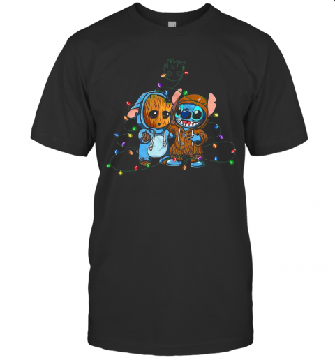 Baby Groot And Baby Stitch Merry Christmas Light shirt Classic Men's