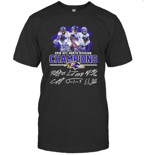 Baltimore Ravens 2018 AFC North Division Champion Signatures shirt Classic Men's