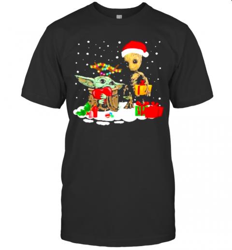 Baby Yoda And Santa Groot Christmas shirt Classic Men's