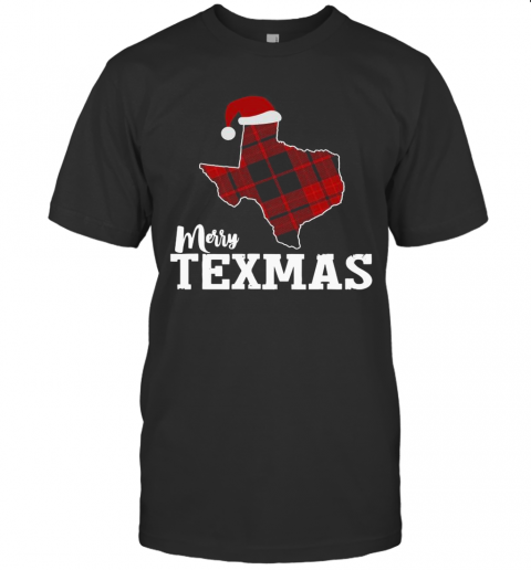 Merry Texmas Texas Xmas State Outline With Santa Hat shirt Classic Men's