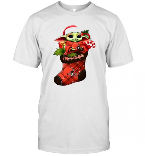 Baby Yoda Hug Cleveland Browns Ornament Merry Christmas 2020 shirt Classic Men's