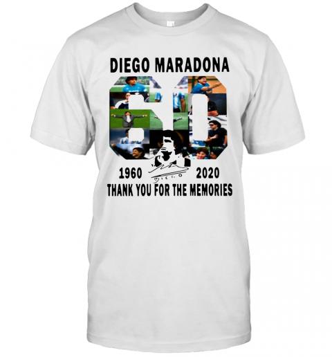 Diego Maradona 1960 2020 Thanks You For The Memories Signature shirt Classic Men's