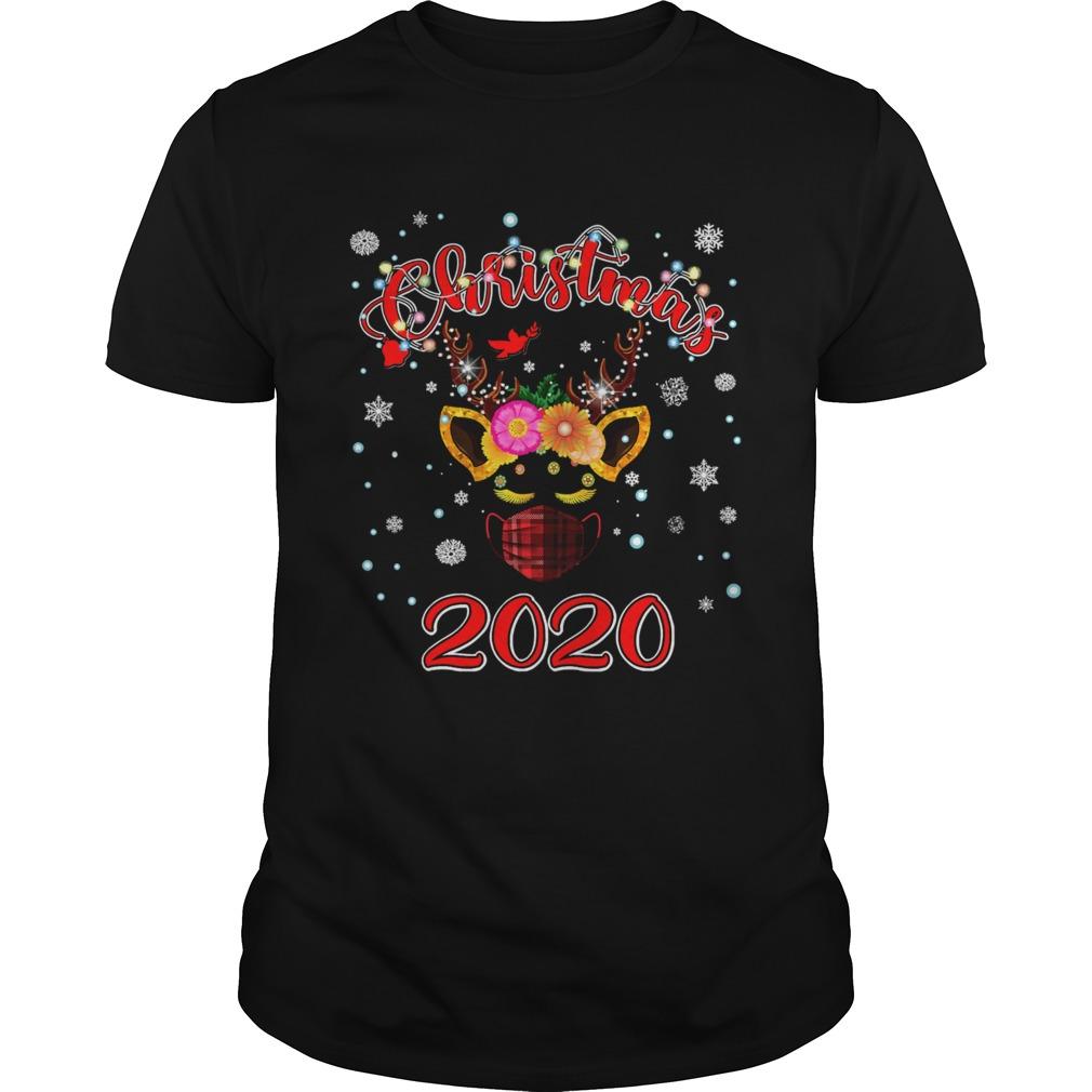 Lockdown christmas 2020 unicorn reindeer red plaid face mask shirt Classic Men's