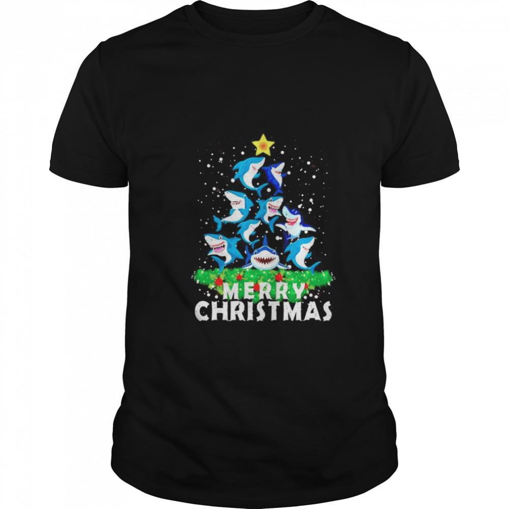 Shark Ugly Merry Christmas tree shirt Classic Men's