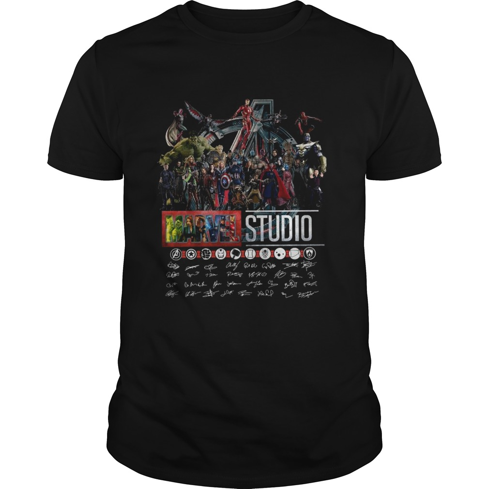 Marvel Studios The First Eleven Years All Characters Signature Avengers shirt Classic Men's