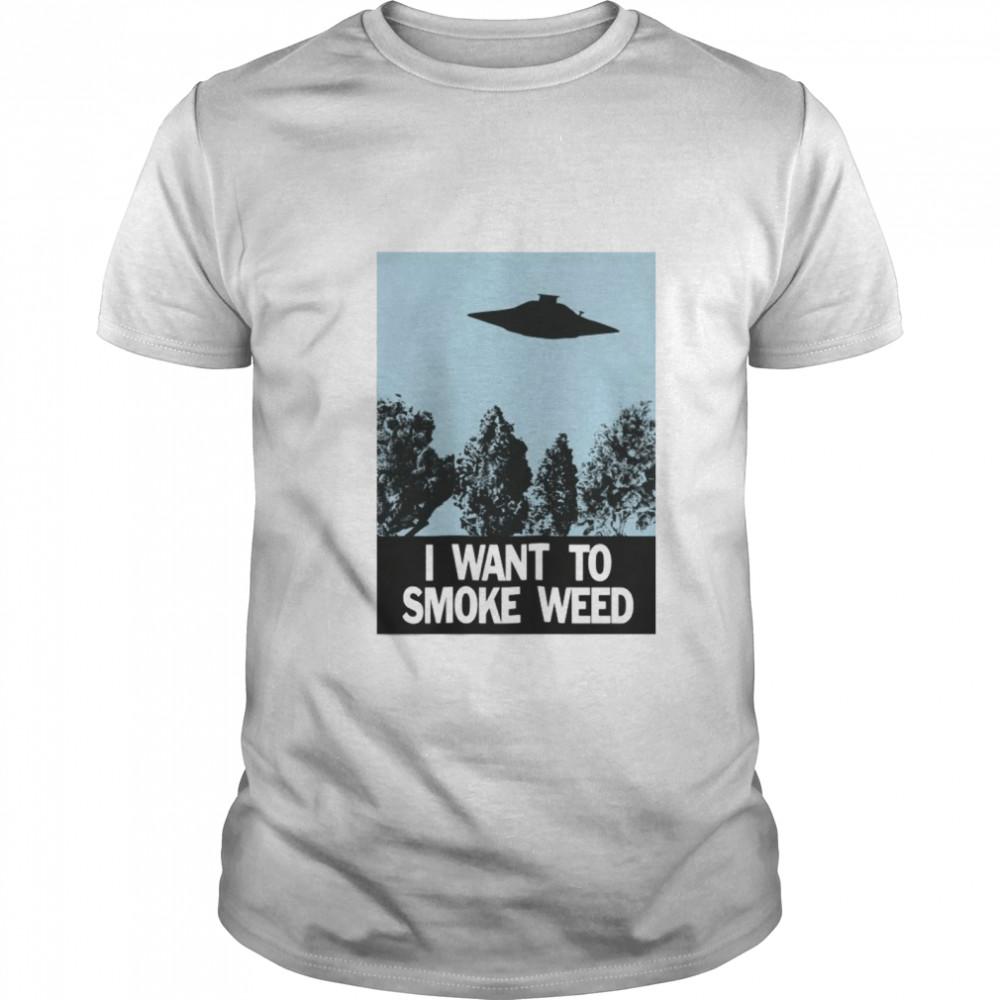 Ufo I Want To Smoke Weed shirt Classic Men's