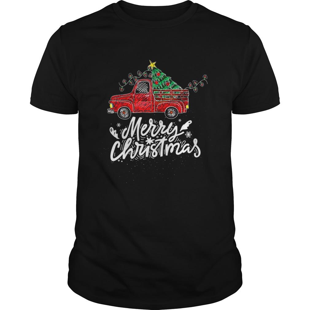 Vintage Wagon Red Truck Christmas Tree Pajama Gift Xmas shirt Classic Men's