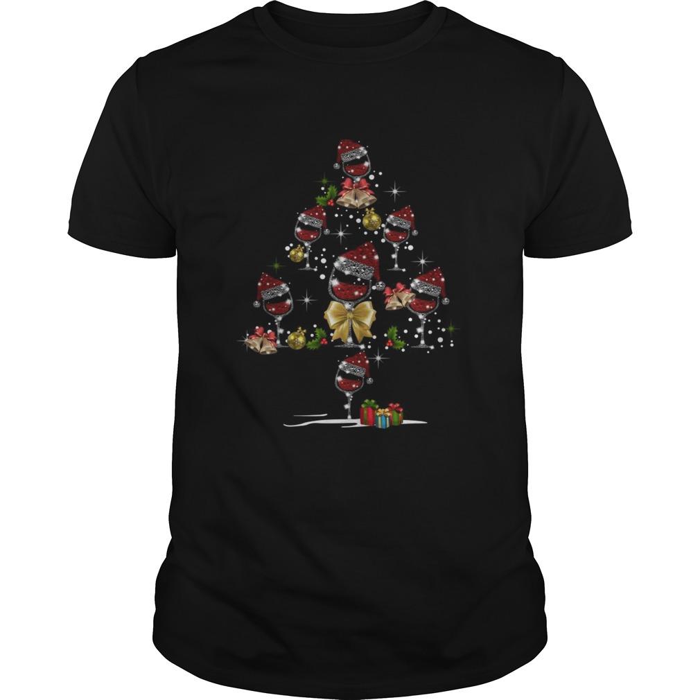 Wine Glass Red Santa Hat Christmas Tree Diamond shirt Classic Men's