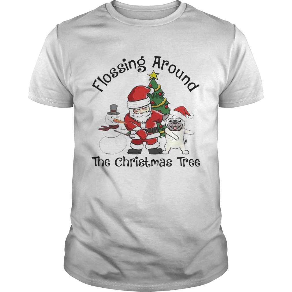 Santa And Pug And Snowman Dabbing Flossing Around The Christmas Tree shirt Classic Men's