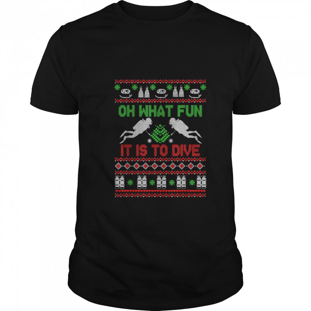 Scuba Diving Diver Ugly Christmas Xmas shirt Classic Men's