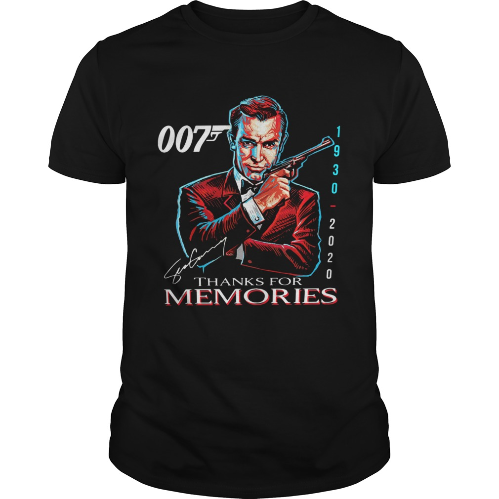 007 Sean Connery 1930 2020 Thank You For The Memories Signature shirt Classic Men's