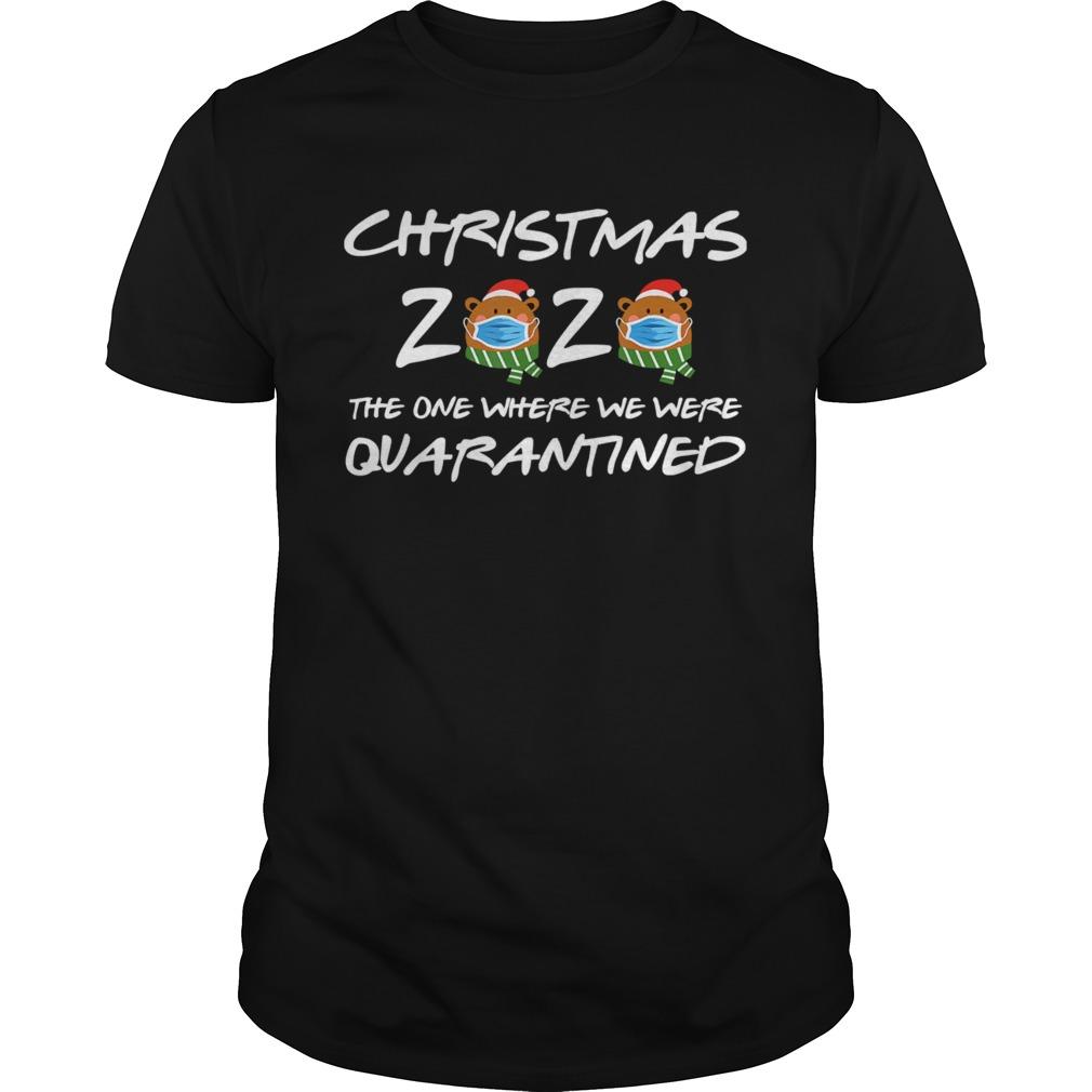 2020 Christmas Bear Wearing Face Mask Quarantined shirt Classic Men's