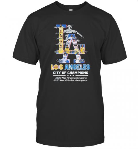 Los Angeles Lakers Vs Los Angeles Dodgers City Of Champions 2020 Signatures shirt Classic Men's