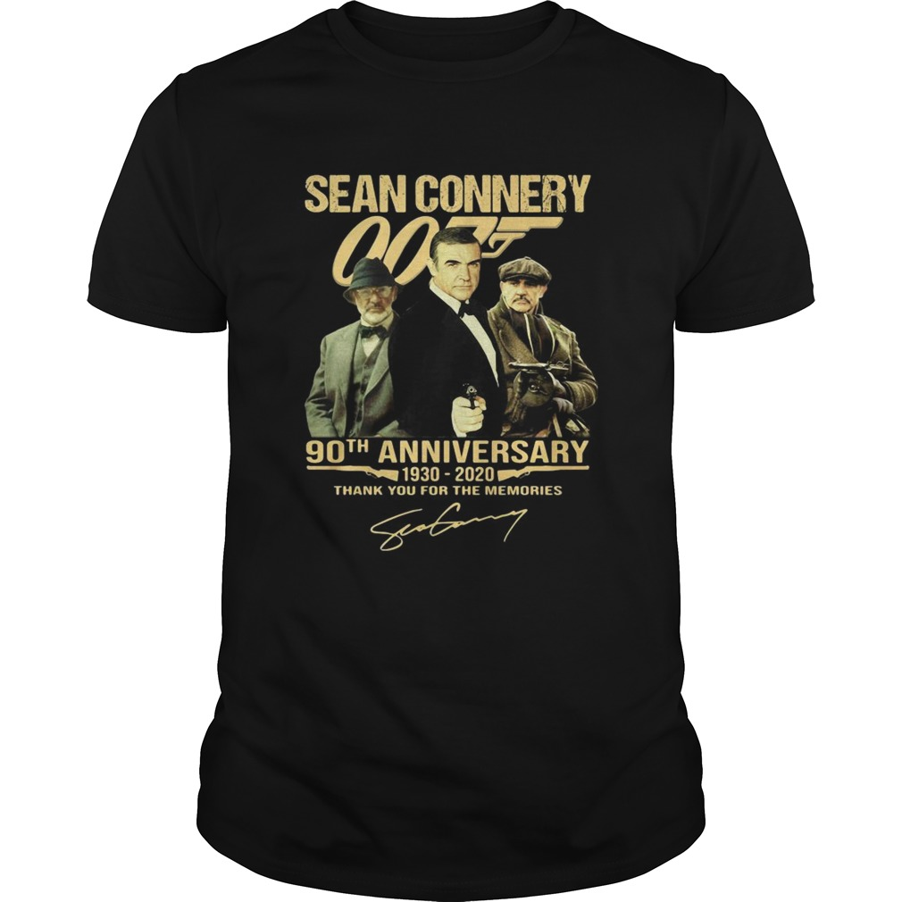Sean Connery 007 90th Anniversary 1930 2020 Thank You For The Memories Signature shirt Classic Men's