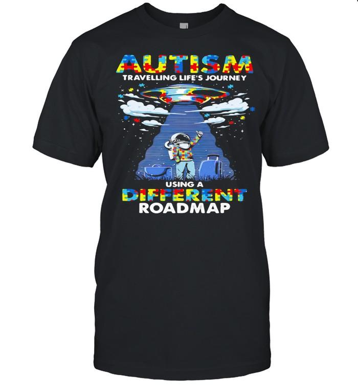 Autism Travelling Life's Journey Using A Diferent Roamap Ufo shirt Classic Men's T-shirt