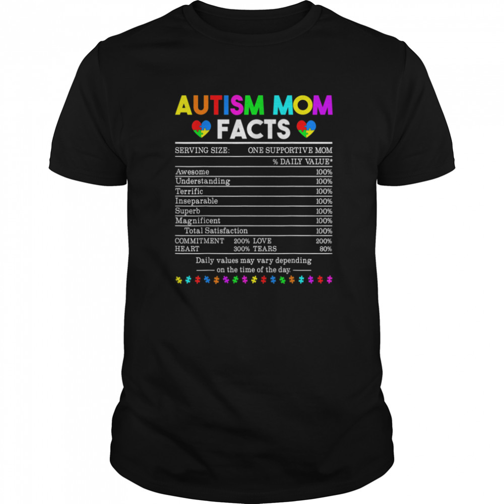 Autism Mom Facts One Supportive Mom shirt Classic Men's