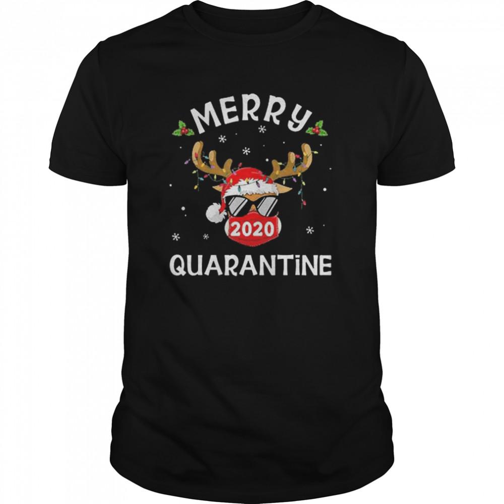 Reindeer Face Mask Merry Christmas Quarantine 2020 shirt Classic Men's