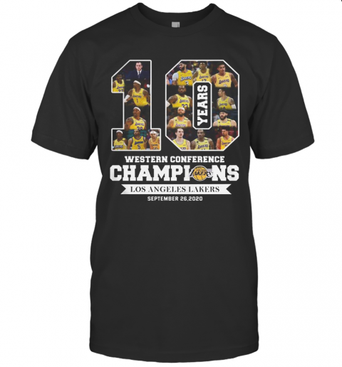 10 Years Western Conference Champions Los Angeles Lakers September 26 2020 shirt Classic Men's