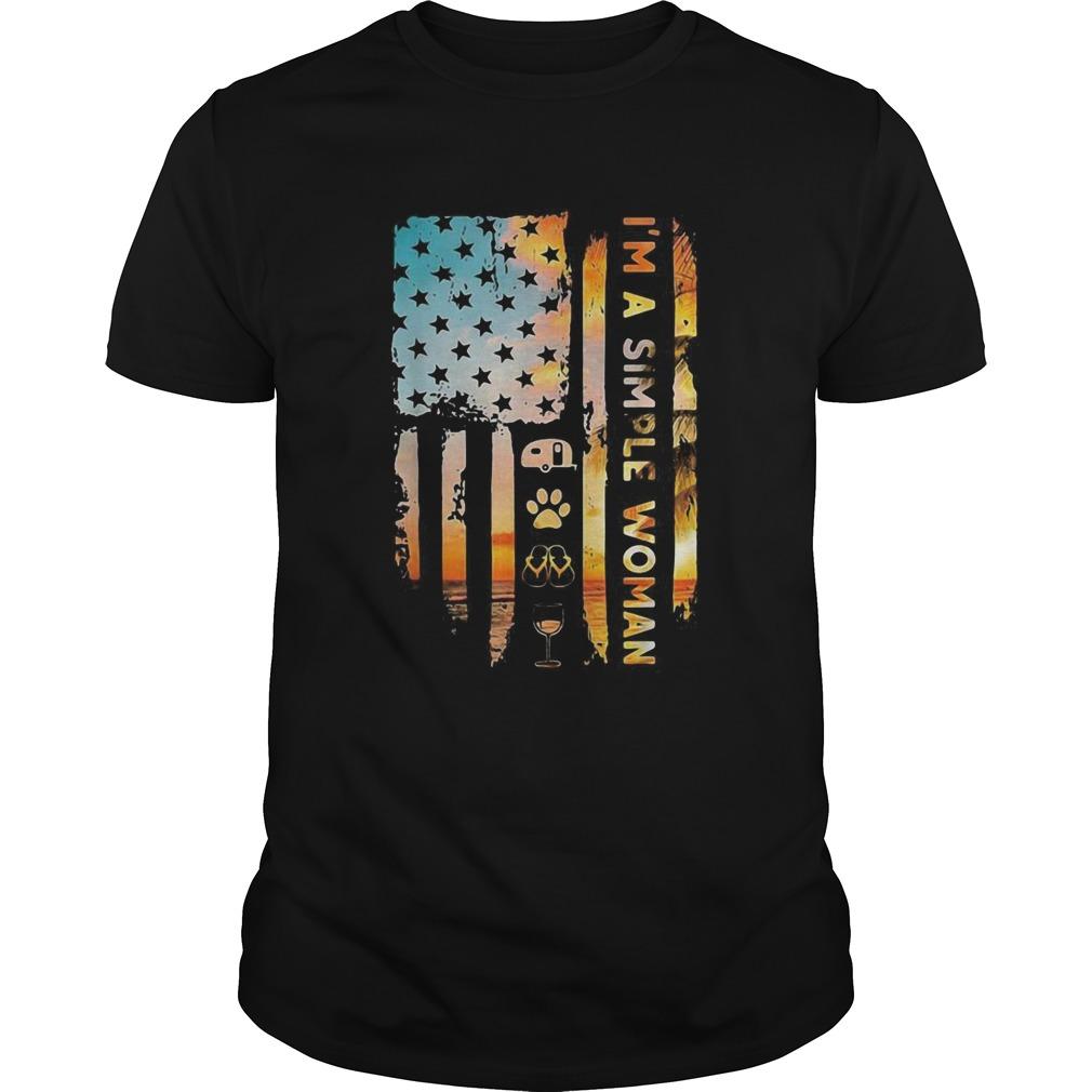 Im A Simple Camping Dog Flip Flop Wine Flag shirt Classic Men's
