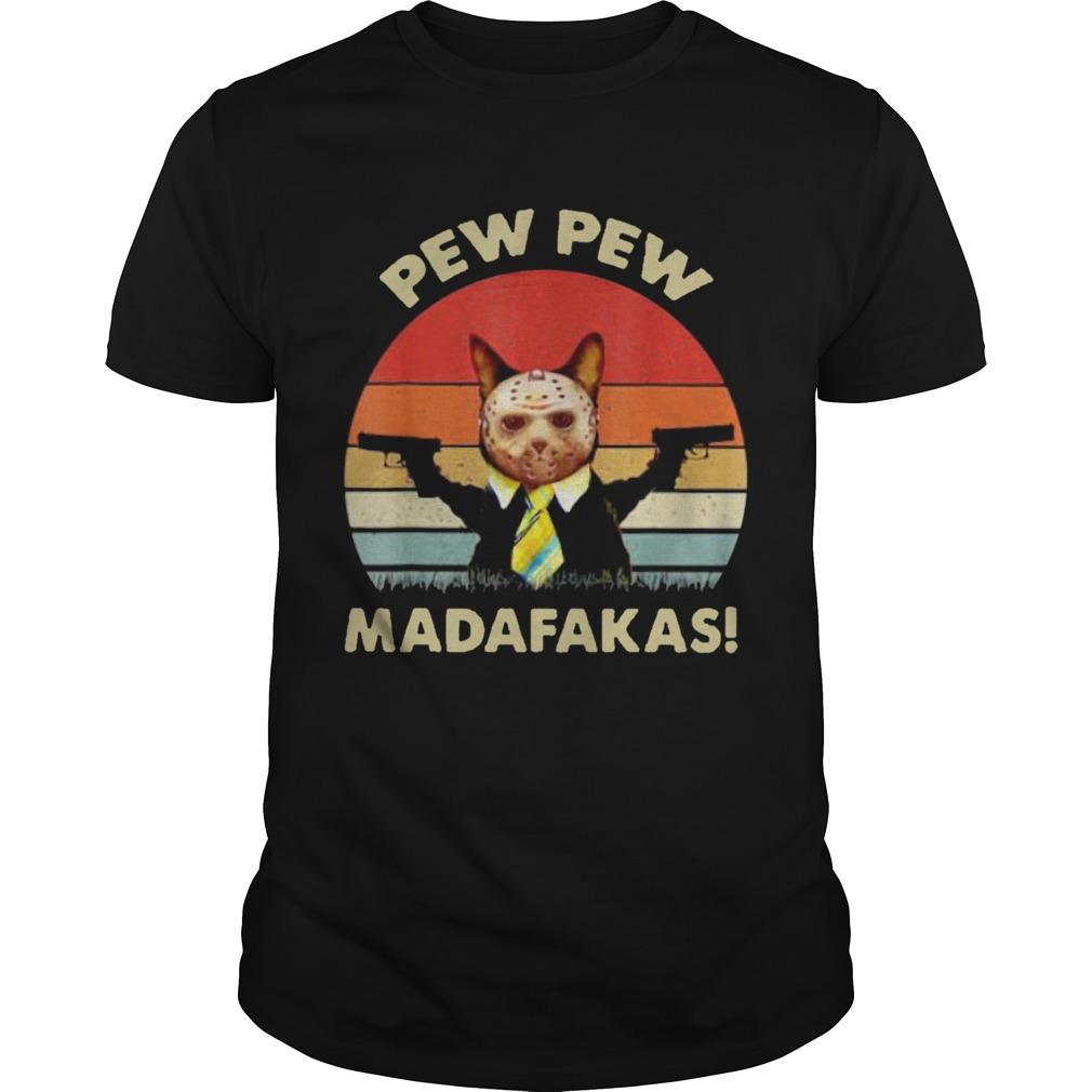 Cat Jason Voorhees Pew Pew Madafakas Vintage Retro shirt Classic Men's