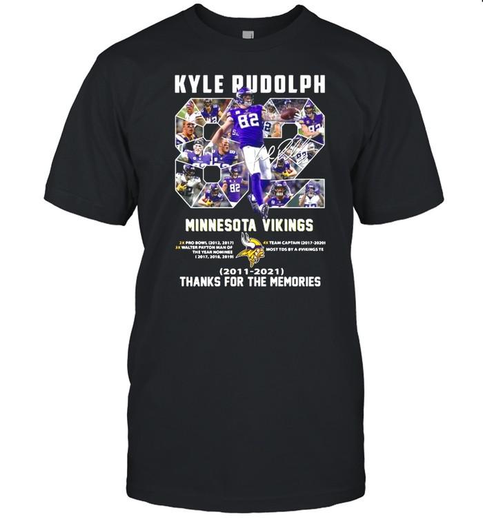 82 Kyle Rudolph Minnesota Vikings 2011 2021 Signature Thanks For The Memories shirt Classic Men's T-shirt