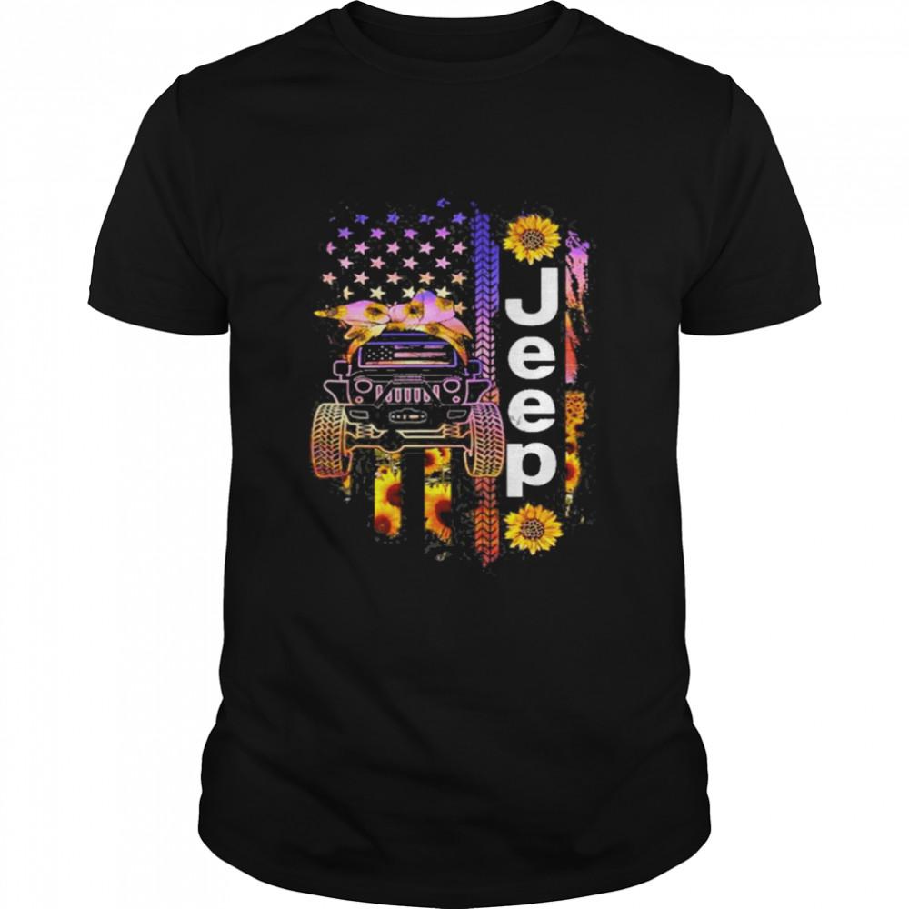 Jeep Wearing Sunflower Bandana Wheel Print American Flag shirt Classic Men's T-shirt