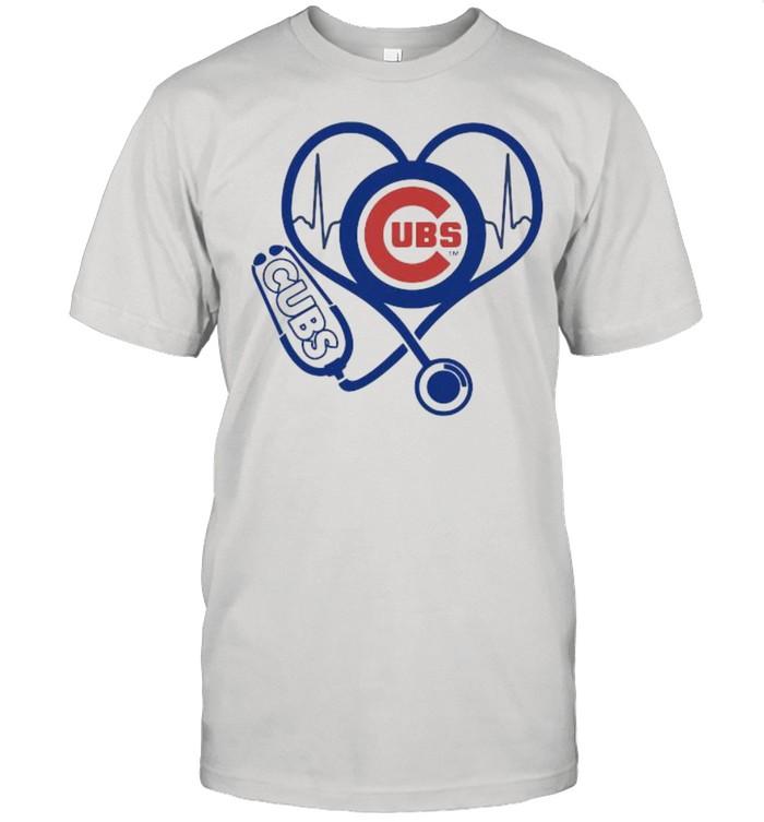 Lover Chicago Cubs Football Heart Beat Logo Cubs  Classic Men's T-shirt