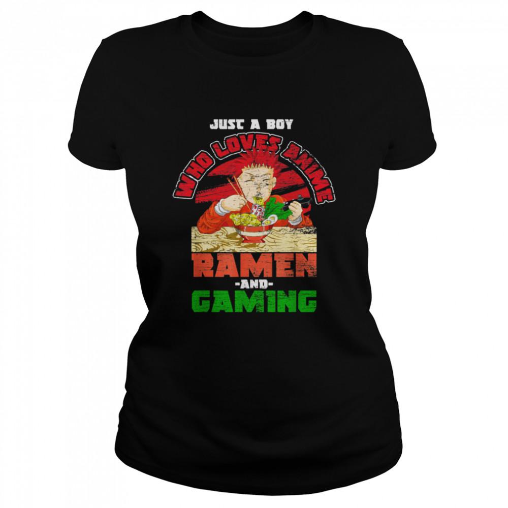 Nur ein Junge der Animes Ramen und Gaming liebt Gamer Anime shirt Classic Women's T-shirt