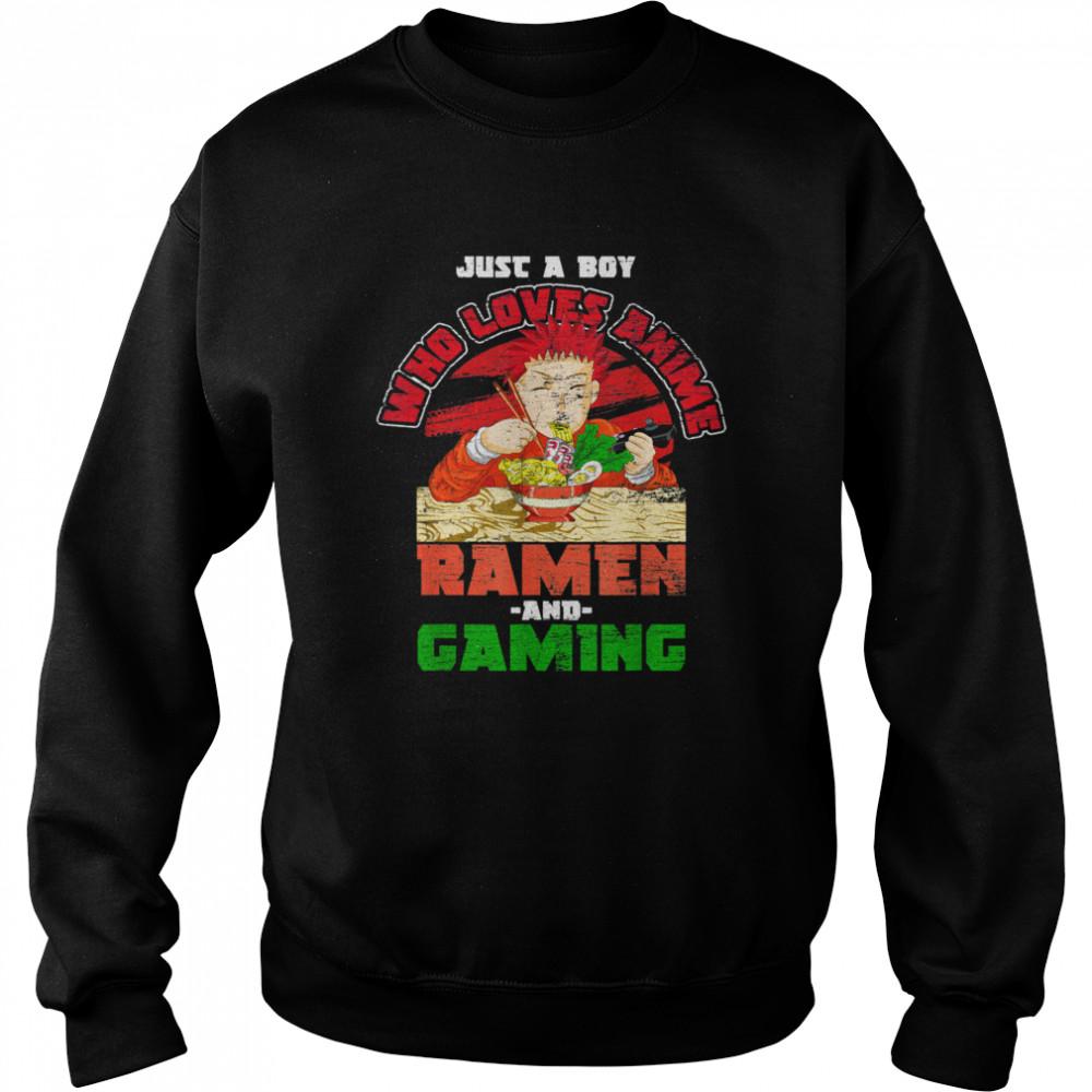Nur ein Junge der Animes Ramen und Gaming liebt Gamer Anime shirt Unisex Sweatshirt