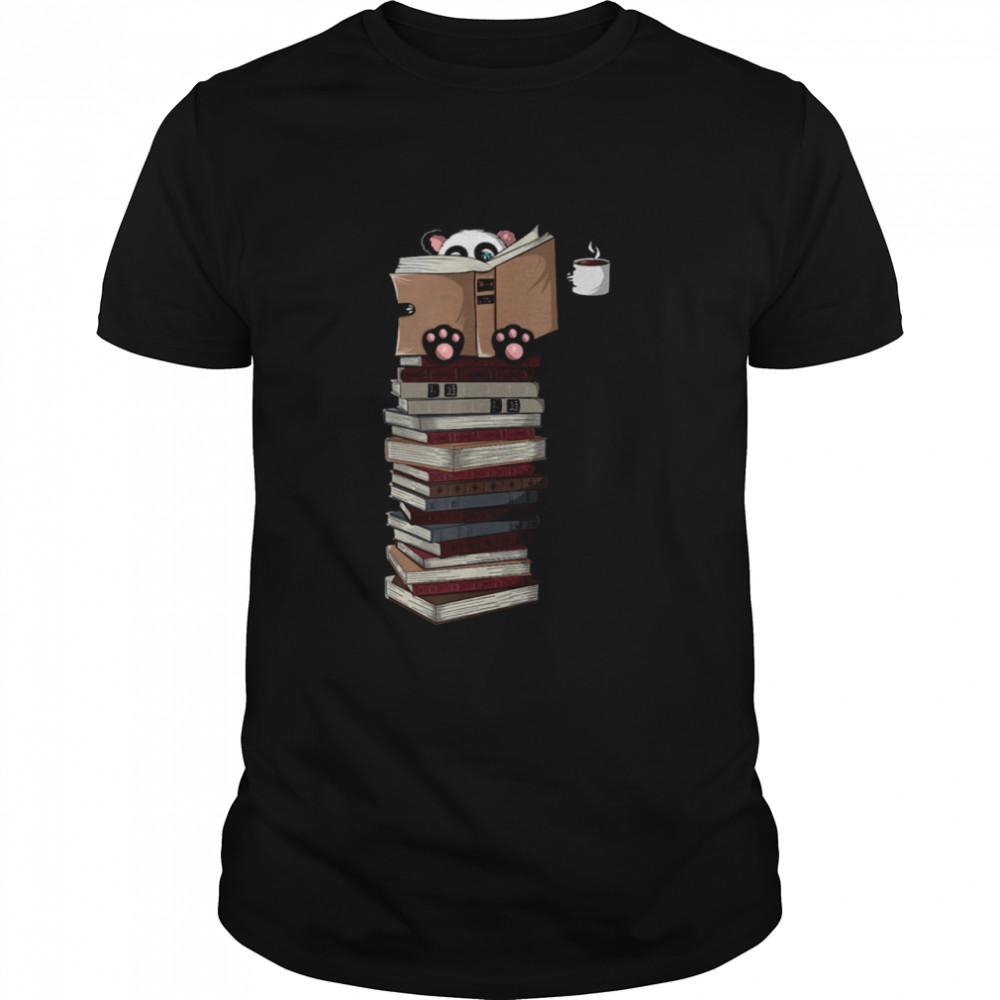 Reading Panda Coffee Lover Books Tea shirt Classic Men's T-shirt