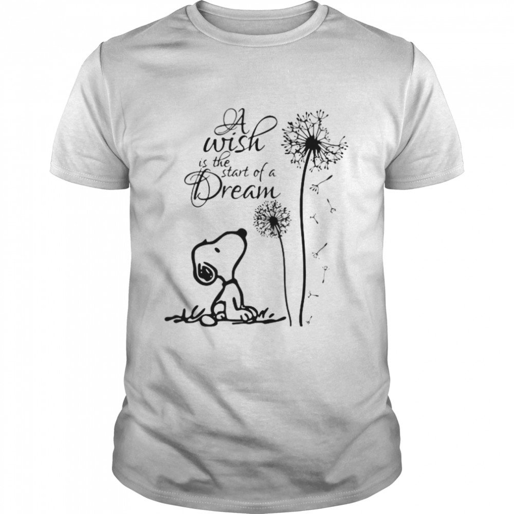 A Wish Is The Start Of A Dream Snooy Dandelion  Classic Men's T-shirt
