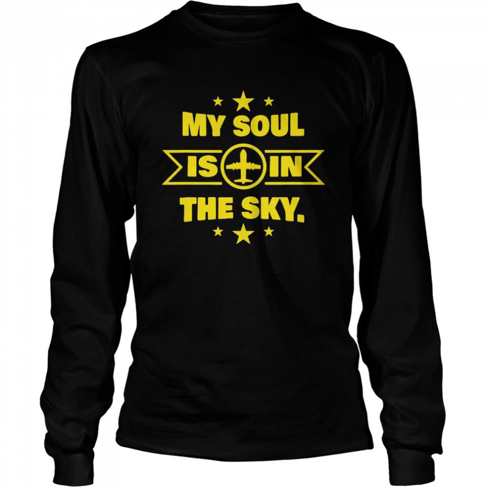 Novelty Pilot Co Pilot Soul In The Sky T-shirt Long Sleeved T-shirt