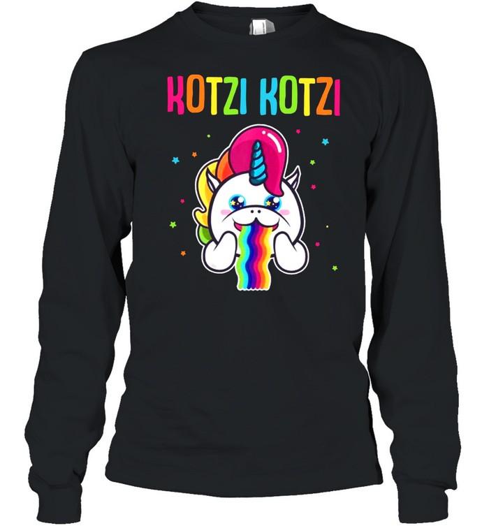Kotzi Kotzi Einhorn Bier Wein Sauf Motto Party  Long Sleeved T-shirt