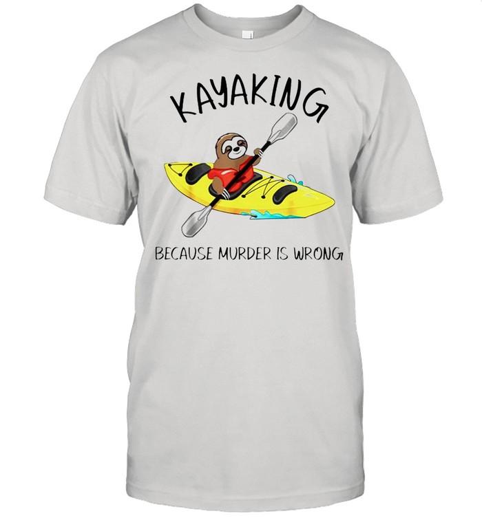 Sloth kayaking because murder is wrong shirt Classic Men's T-shirt