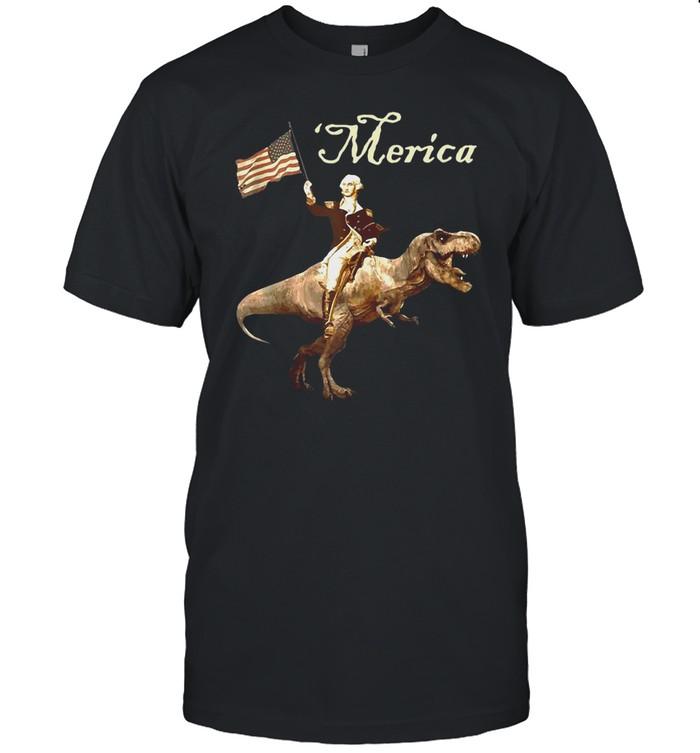 George Washington Riding A Tyrannosaurus Rex Merica Trex T-shirt Classic Men's T-shirt
