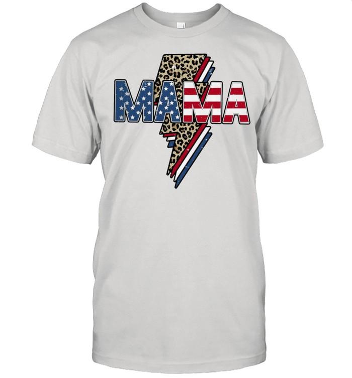Retro mama happy 4th of july leopard thunder mama lightning rock shirt Classic Men's T-shirt