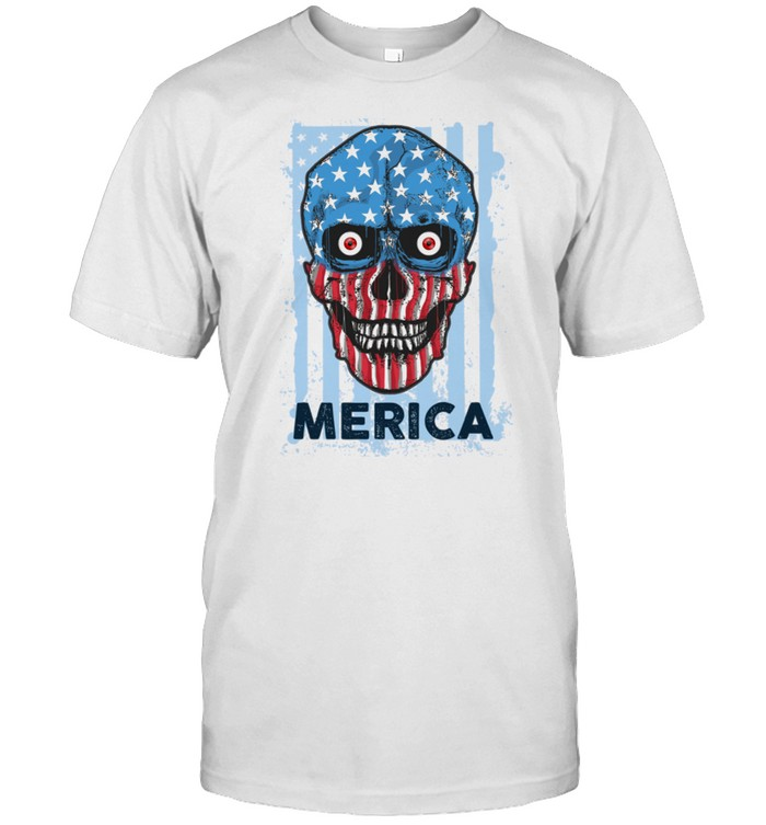 American Skull 4th of July Party Independence USA Flag shirt Classic Men's T-shirt