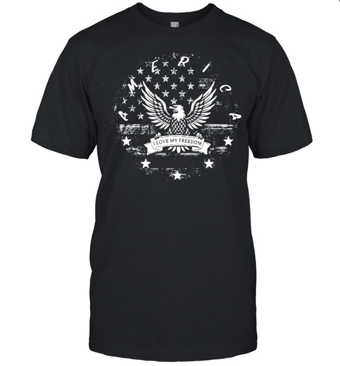America I Love My Freedom Eagle American Flag  Classic Men's T-shirt